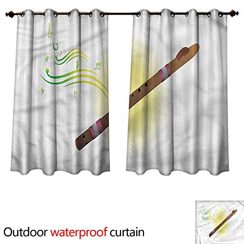 cobeDecor Flute Outdoor Ultraviolet Protective Curtains Ethnic Woodwind Aerophone W84 x L72(214cm x ()