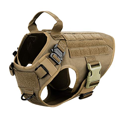 "ICEFANG Dog Harness Medium Breed,Tactical Molle Dog Vest,No Pulling Front Clip, Hook and Loop Panel for Dog Patch,Metal Buckle (M 25""-30"" Girth), CB-2x Metal Buckle"