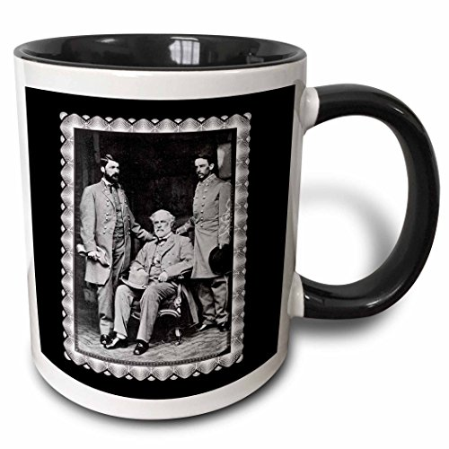 3dRose Generals Robert E Lee, Curtis Lee and Colonel Walter Taylor by Mathew Brady 1865 Civil War Photo - Two Tone Black Mug, 11oz (mug_160767_4), 11 oz, Black/White (Robert E Lee Civil War General 2)
