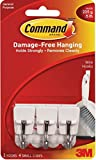 Command Small Plastic Wire Hook(White,3 hooks and 4 strips)