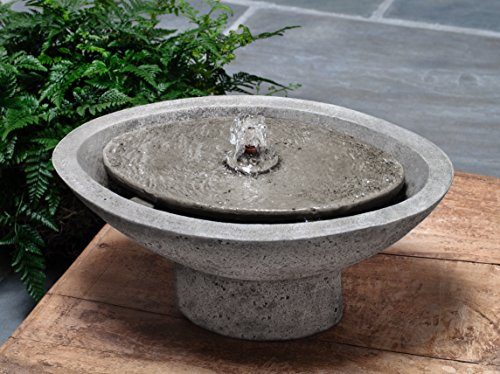 Campania International FT-260-AL Zen Oval Fountain, Aged Limestone - Left Oval Drain