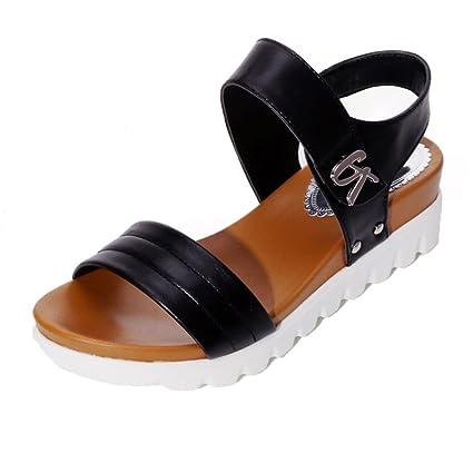 05cc4a57012 Women Sandals WuyiMC Summer Sandals Women Aged Flat Fashion Sandals  Comfortable Ladies Dress Shoes (Black