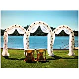 Adorox 7.5 Ft White Metal Arch Wedding Garden Bridal Party Decoration (Package of 3)