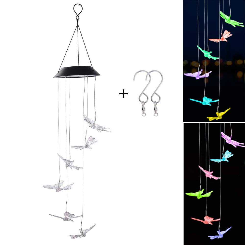DEWEL Butterfly Solar Wind Chimes Changing Solar Light Wind Spinner Color Changing LED Solar Powered Wind Chime Lights For Home Garden Decoration