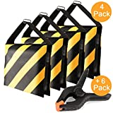 DAOKI 4 Packs Set Black/Yellow Heavy Duty Sand Bag with 6 Packs 4 1/2 inch Muslin Clamps Photography Studio Video Outdoor Stage Film Sandbag Saddlebag for Flash Light Stands Boom Arms Camera Tripods