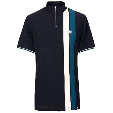 Pretty Green Polo Shirt Colour Block Zip Neck Short Sleeve - Navy ...