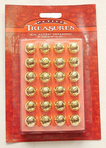 Mini Glass Ball Ornament - Kurt Adler 24ct Petite Treasures Shiny Gold Mini Glass Ball Christmas Ornaments 0.6