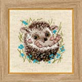 2 Cross Stitch Kit Bundle with 2 Mounting Boards: Little Raccoon and Little Hedgehog, 2 5x7 Mounting Boards Included