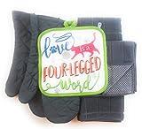 Love is a Four-Legged Word Animal Cat Lover 6 Piece Kitchen Linen Towel & Pot Holder Set