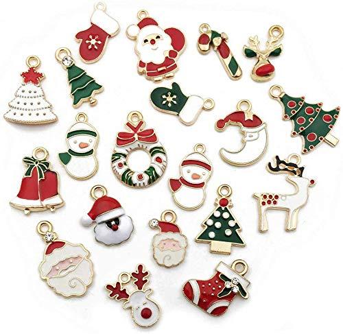 Tweal Weihnachten Anh/änger Charms,20 St/ück Sortiert Emaille Charm Anh/änger f/ür Schmuckherstellung DIY Armband Halskette Schl/üsselring