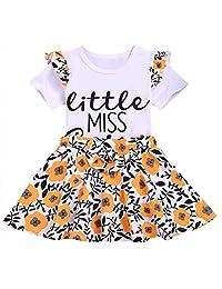 SUPEYA Baby Girls Floral Short Sleeve Tops Jumpsuit+Suspender Strap Skirt 2pcs Set