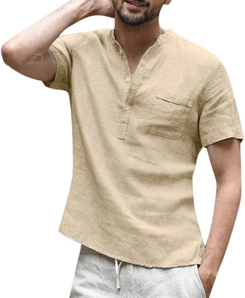 Mens T Shirt Baggy Cotton Linen Button SOID Front Pocket Short Sleeve Retro T Shirts Tops Blouse