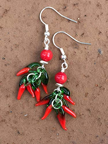 (Chili Pepper Earrings, Red Coral Earrings, Lampwork Red Glass, Jalapeno Pepper Earrings, Hot Peppers, Chef Gift, Foodies Gift.)