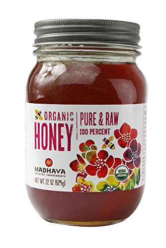 Madhava Organic Pure Raw Honey, 22 Ounce (Pack of 6)