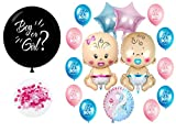 Gender Reveal Balloon Party Decoration Easy Kit -''Girl or boy'' Black Balloon, Confetti, Baby Reveal Themed Balloons, 17pcs, Pink or Blue (Pink)