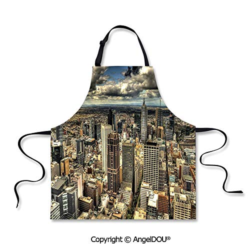 SCOXIXI Adult Kitchen Dinner Party Cooking Apron Melbourne Cityscape Modern Australia Architecture Buildings Metropolis Dramatic Sky Home Cooking BBQ Apron Cleaning Accessory.