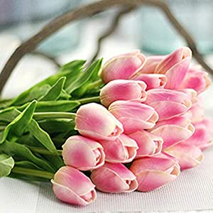 GSD2FF 1PC PU Tulips Artificial Flowers Real Touch Artificial Decora Mini Tulip for Home Wedding Decoration Flowers,Dark Pink 68