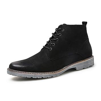 496dc561476da HILOTU Hombres Botas de Gamuza Chukka Casual Cómodo Cordones Retro Botín  Calle con Estilo Zapatos para Caminar (Color   Negro