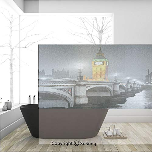 3D Decorative Privacy Window Films,The Big Ben and the Westminster Bridge at Night in UK Street River European Look Decorative,No-Glue Self Static Cling Glass film for Home Bedroom Bathroom Kitchen Of