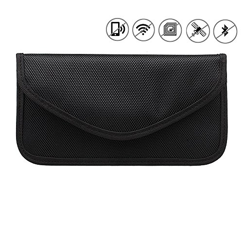 Anti-Radiation Bag, Anti-Tracking Pouch Anti-Spying GPS RFID Blocking Signal Blocker Bag Handset Function Cell Phone Case for iPhone, Samsung and Others Privacy Protection and Car Key FOB (Black)