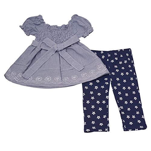 - Real Love Baby Girls Navy Gathered Sleeve Dress Floral 2 Pc Pant Outfit 12M