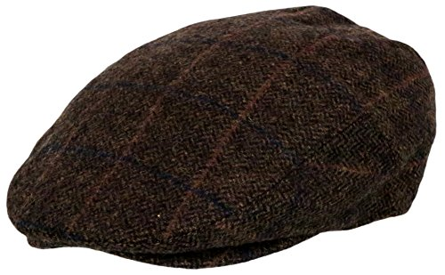 (Men's Premium Wool Blend Classic Flat Ivy Newsboy Collection Hat , Plaid Dark Brown, X-Large)