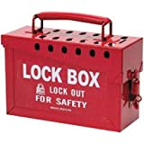 Brady USA 65699 Red 6'' x 9'' x 3 1/2'' Heavy Duty Steel Portable Group Lock Box Includes (13) Lock Holes On Lid And (1) Lockable Clasp On Front, English, 15.34 fl. oz., Plastic, 6'' x 1'' x 9''