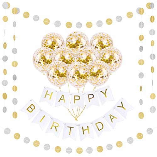 Happy Birthday Gold Banner Decoration Set | 16 Pack Gold Confetti Balloons Pre-Filled | 16FT Vibrant Garland