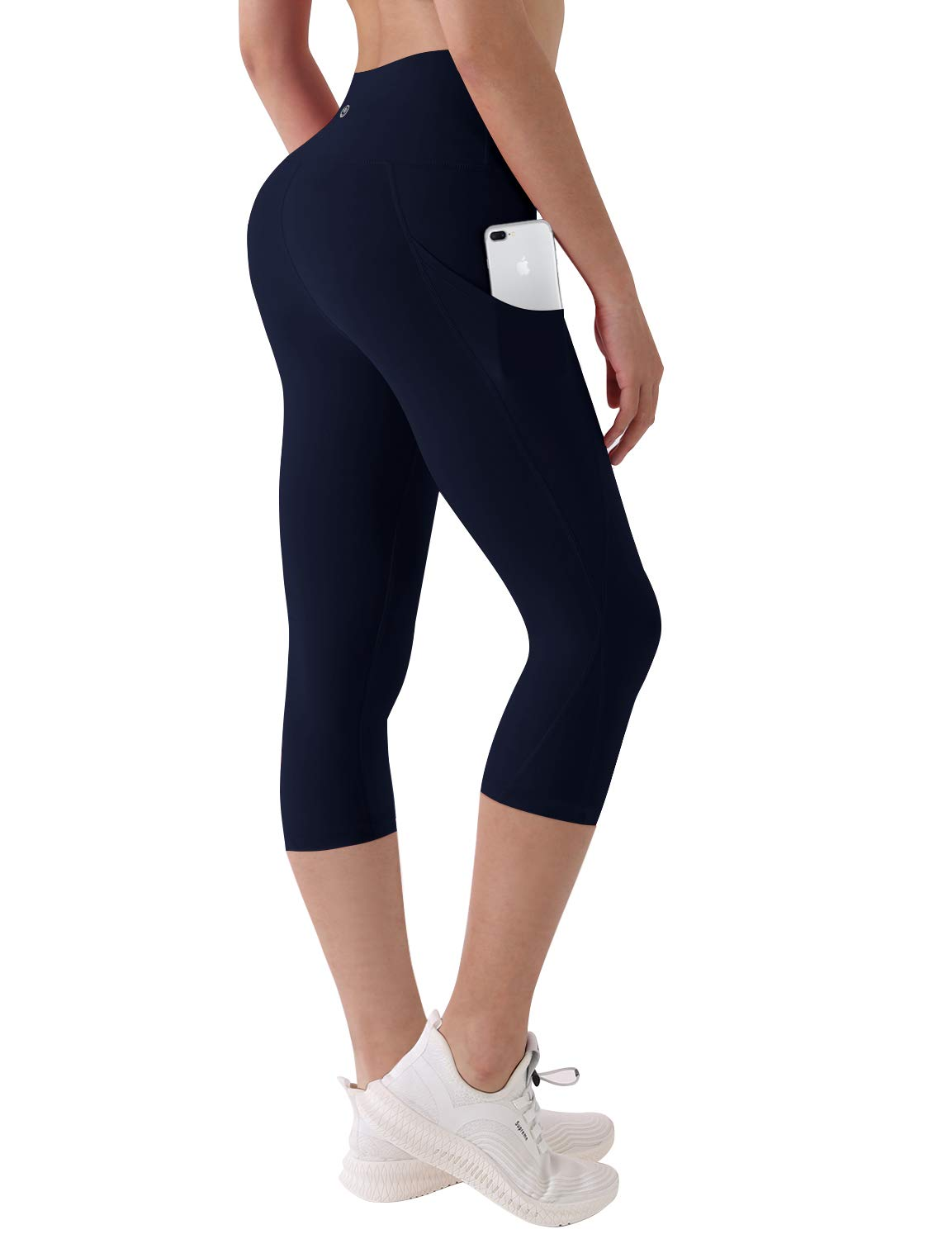 BUBBLELIME High Compression Yoga Pants Out Pocket Running Pants High Waist UPF30+, Bwsb029 Darknavy(1), Large(19'' inseam)
