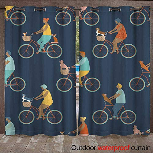 Outdoor Ultraviolet Protective Curtains Funny Cartoon Bicycle Riders Group Seamless Pattern in Vector W108 x L84 ()