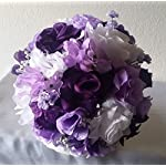 Purple-Lavender-White-Rose-Hydrangea-Cascading-Bridal-Wedding-Bouquet-Boutonniere