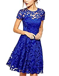 Women's Elegant Short Sleeve Lace Fit And Flare Cocktail Dress