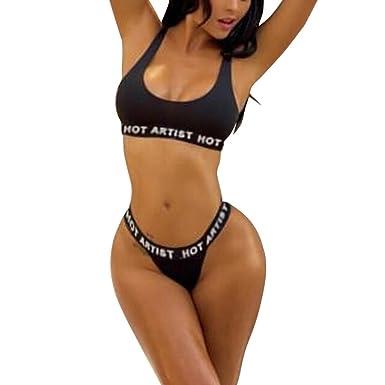 revisa c76a0 e559e HCFKJ Trajes De BañO Sexy Mujer Bikini para Mujer Push-Up ...
