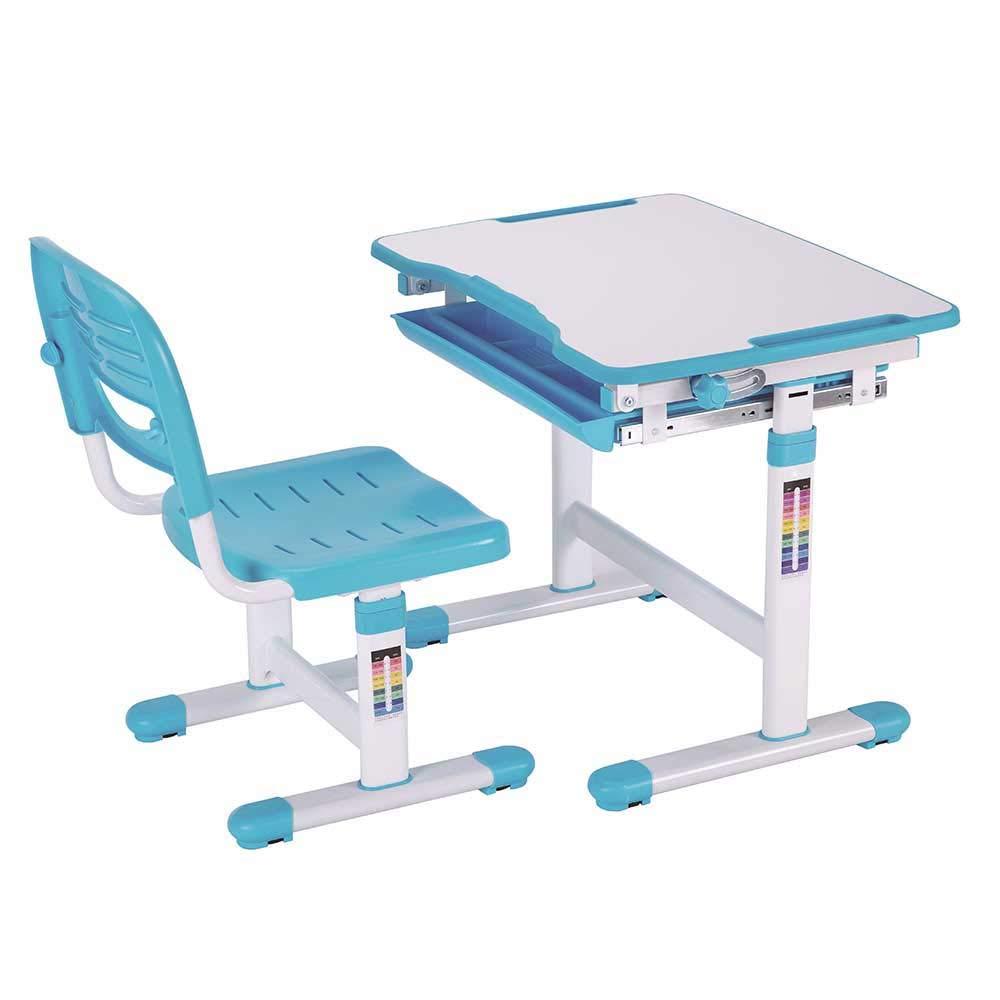 Pharao24 Höhenverstellbarer Kinderschreibtisch mit Stuhl Blau Weiß