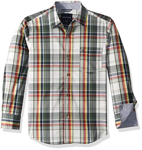 Nautica Boys' Big Long Sleeve Printed Woven Shirt, Stern Cream Stretch, X-Large (18/20)