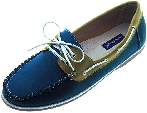 Femmes Coolers Faux Cuir Nubuck Mocassins Lacet Chaussures Bateau Tailles 4 - 8 - Vert/Dk vert/Jaune, EU 41