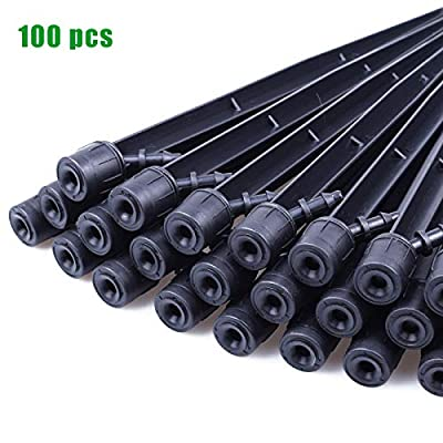 MIXC 100PCS Drip Emitters Fan Shape with Stake Water Flow Adjustable for 1/4 inch Irrigation Tube Hose, 360 Degree Sprayer Perfect for Irrigation System Watering Kits for Garden Patio Lawn Flower Bed