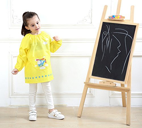 Kids Multifunctional Painting Smock Cute Plane Printing Children's Waterproof Pullover Long Sleeve Bib with Pocket Drawing Apron Yellow 4-6 T by DAWNTUNG (Image #4)