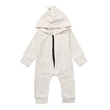 Boys' Baby Clothing Popular Brand Dinosaur Print Hooded Jumpsuit Spring And Autumn Cute Baby Cotton Long Sleeve Zipper Jumpsuit 0-24m Bodysuits & One-pieces