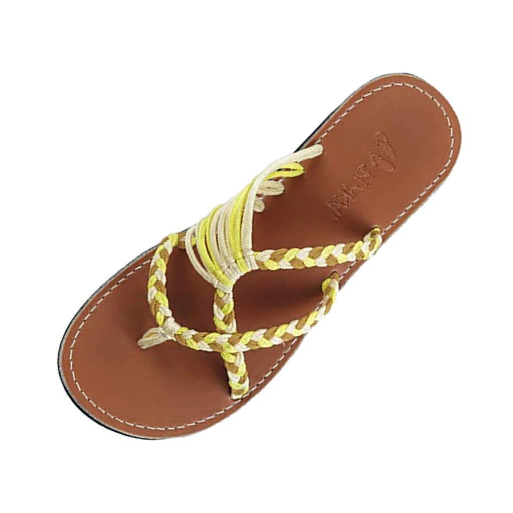 YEZIJIN Hot Sale Retro Womens Slippers Hemp Rope Flip Flops Flat Fashion Roman Sandals Beach Shoe Platform Flats Shoes for Women Ladies Girl Indoor Outdoor 2019 Clearance Under 10 Dollars