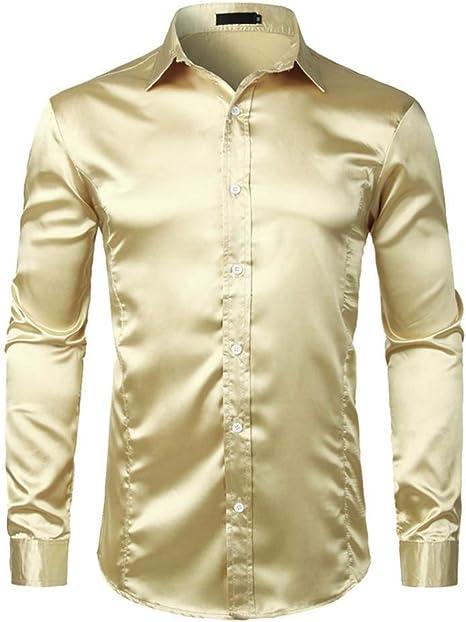 YAYLMKNA Camisa Camisa De Vestir De Satén De Seda Ajustada para Hombre Camisa De Novio Etapa De Baile De Graduación Camisa con Botones Hombre, S: Amazon.es: Deportes y aire libre