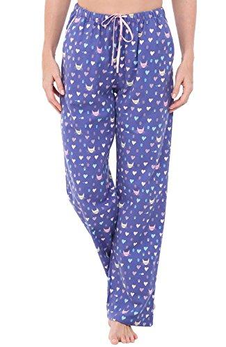 Alexander Del Rossa Womens Flannel Pajama Pants, Long Cotton Pj Bottoms, Medium Kitty Love (Kitty Cat Pant)