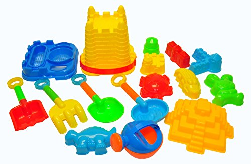 JustForKids Beach Toy Set, Summer Beach Fun Activity, Castle Bucket Sand Mold 16 Piece Set, Play Kit for Kids With Heavy Duty Reusable Mesh Bag