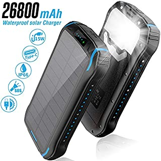 Solar Charger 26800mAh,Solar Power Bank,Portable Charger Battery Pack with 3 Outputs & 2 Inputs(Micro USB & Type-C) Huge Capacity Backup Battery Compatible Smartphone,Tablet and More