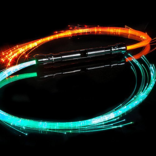 GloFX Space Whip Pro [DOUBLE SIDED] - 6 Ft 360° Swivel Fiber Optic Whip - Programmable LED Light Rave Toy Pixel Flow