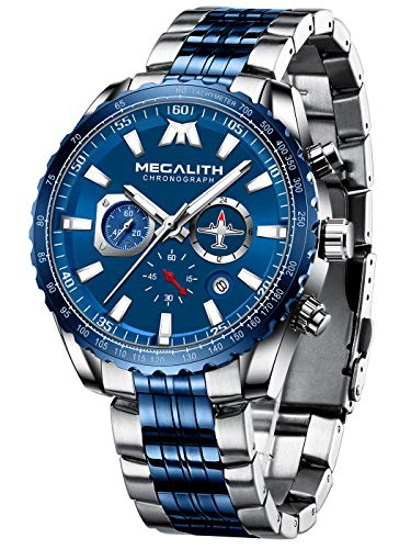 MEGALITH Mens Watches Chronograph Waterproof Watch Stainless Steel Watch Men Sports Military Watch Analog Quartz Date Calendar Luminous Watches for Man Business Gents Multifunctional Wrist Watch