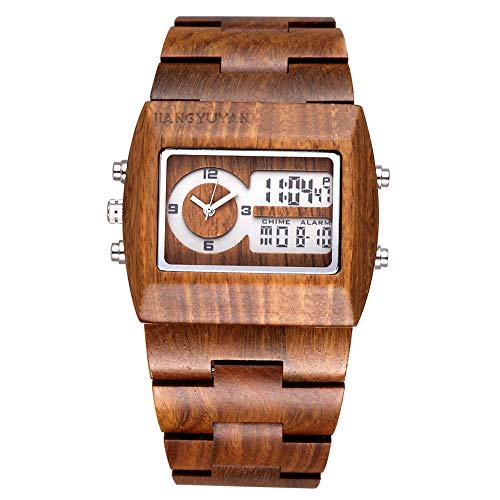 - Astarsport Mens Unique Fashion Classic Casual Retro vintage Wooden wood watches Handmade Big Quartz Analog Digital Dual Time Luminous Calendar Date Week Window Stopwatch wrist watch green sandalwood