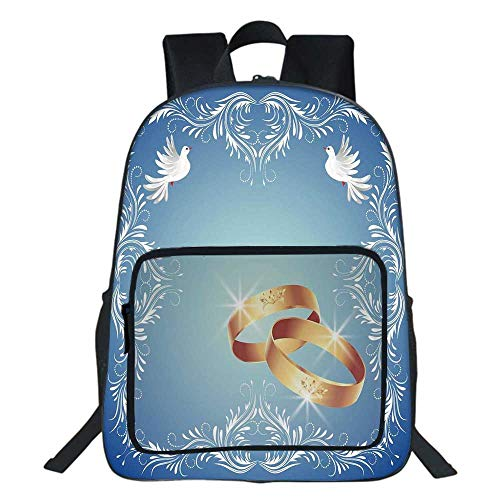 Wedding Decorations School Bookbag,Ornament Frame and Two Flying Doves Heart Shapes Wedding Rings For Teens Girls Boys,11.8