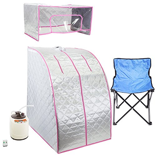 WYZworks Silver / Pink Portable Therapeutic Personal Steam Sauna Spa Room 2L Water Capacity with Headcover and Herb Box