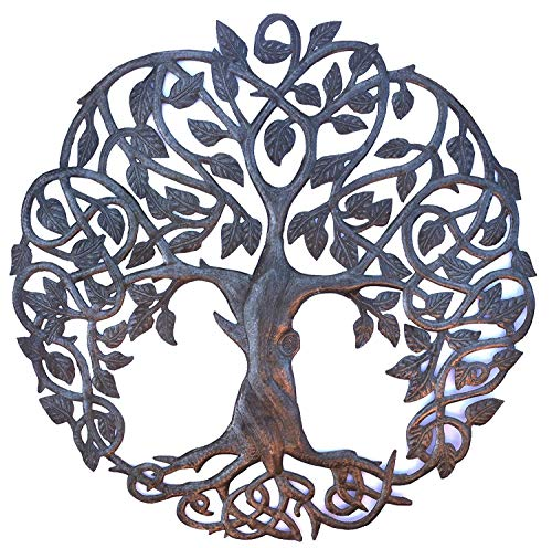 Tree of Life Metal Wall Art, Contemporary Iron Artwork Decor, Celtic Family Trees, 23 In. x 23 In. Round Modern Plaque…